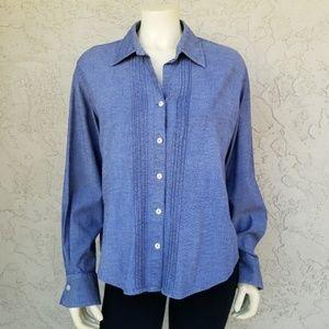 Liz Claiborne Chambray French Cuff Button Up Shirt